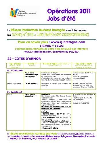 JOBS d'ETE 2011 - CRIJ Bretagne