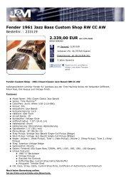 Fender 1961 Jazz Bass  Custom Shop RW CC AW