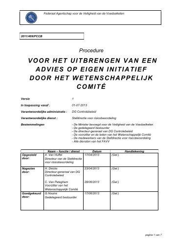 Procedure voor het uitbrengen van een advies op eigen ... - Favv