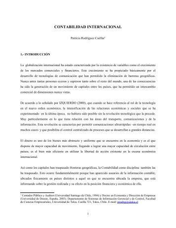 Contabilidad internacional - Revista Panorama Socioeconómico