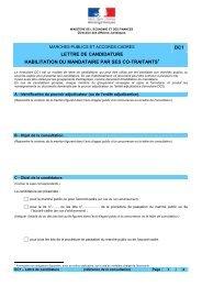 Lettre de candidature et habilitation du mandataire par ses co-traitants