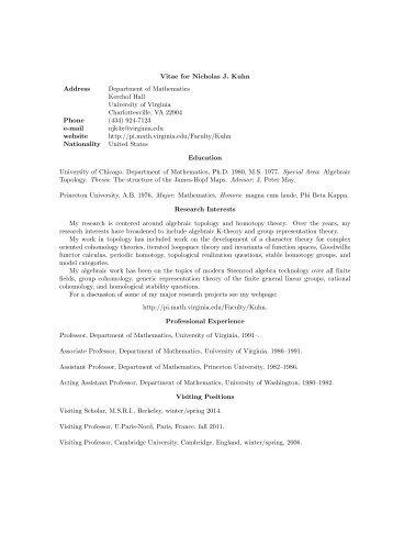 Vitae for Nicholas J. Kuhn Address Department of Mathematics ...