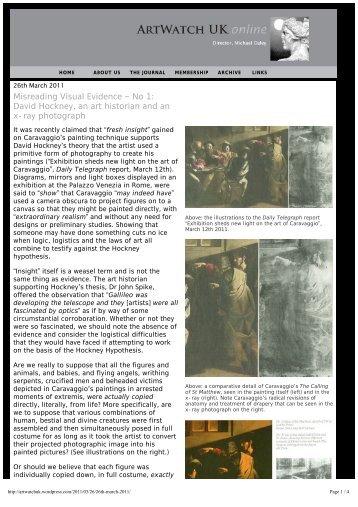 Misreading Visual Evidence ~ No 1: David Hockney, an ... - Artwatch