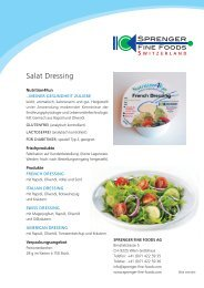 Produkteblatt Salat Dressing Nutrition4Fun - Sprenger Fine Foods AG