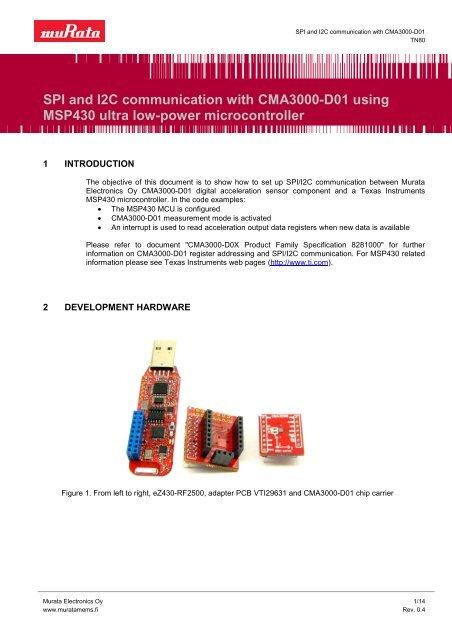 SPI and I2C communication with CMA3000-D01 using MSP430