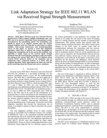 Link Adaptation Strategy for IEEE 802.11 WLAN via ... - CiteSeer