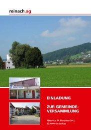 Einladung zur Budget-Gemeindeversammlung vom 14.11 ... - Reinach