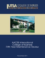 fifth year maintenance report - AACSB - The University of Texas at ...