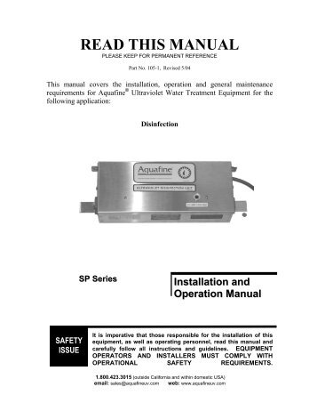Aquafine SP Manual - Big Brand Water Filter