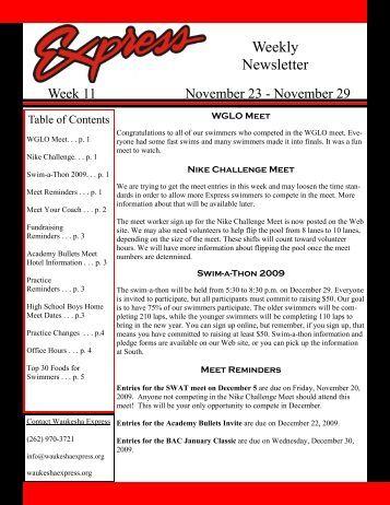 Weekly Newsletter - Waukesha Express Swim Team