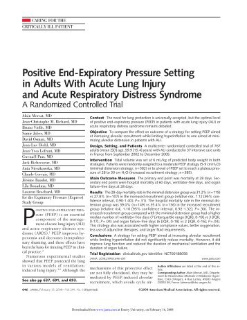 Positive End-Expiratory Pressure Setting in Adults With Acute Lung ...