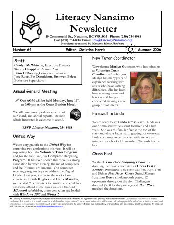 Literacy Nanaimo Newsletter - National Adult Literacy Database