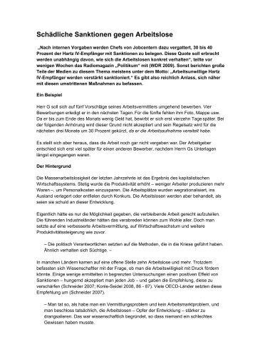 Schädliche Sanktionen gegen Arbeitslose - NachDenkSeiten