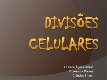 La Salle Águas Claras Professora Daiana Ciências 8º ano