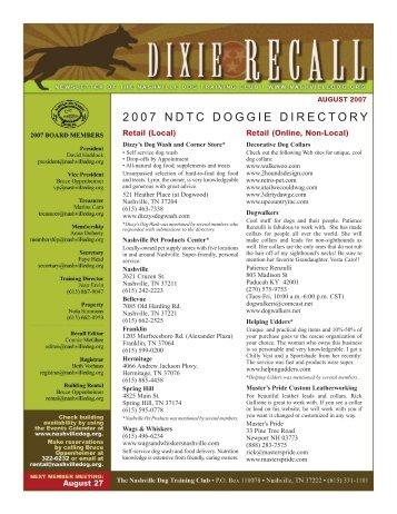 August 2007 2007 ndtc doggie directory - Nashville Dog Training Club
