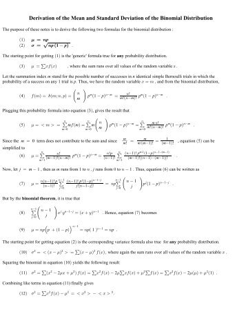 Derivation of the Mean and Standard Deviation of the Binomial ...