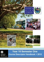 Year 10 Semester One - Northern Territory Schools