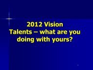 2012 Vision Talents – what are you doing with yours? - M2cms.com.au