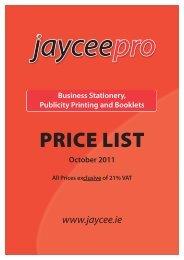 Price List October 2011 - Jaycee