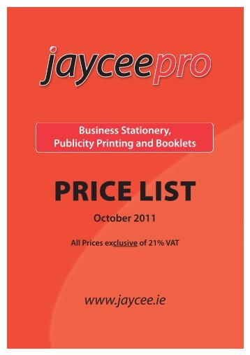 Price List October 2011 - Jaycee