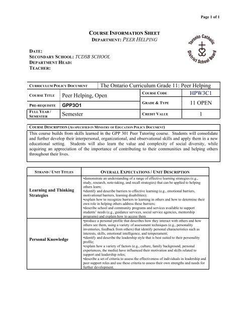 The Ontario Curriculum Grade 11: Peer Helping HPW3C1     - MPSJ ca