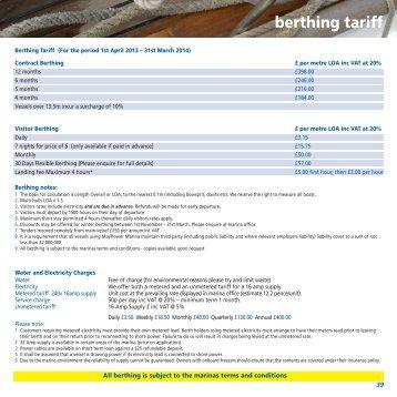 berthing tariff - Mayflower Marina