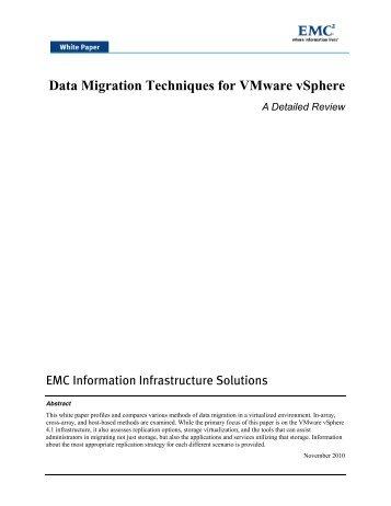 Data Migration Techniques for Vmware vsphere - A Detailed Review