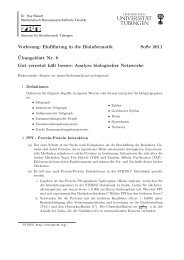 Vorlesung: Einführung in die Bioinformatik SoSe 2011 ¨Ubungsblatt ...