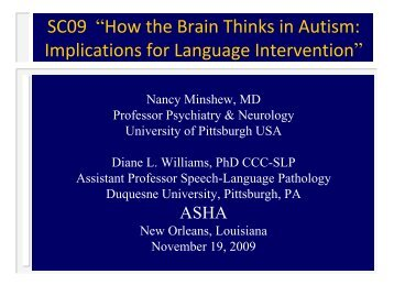How the Brain Thinks in Autism: Implications for Language Intervention