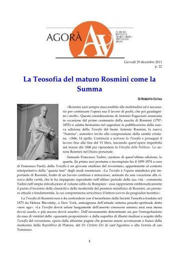 La Teosofia del maturo Rosmini come la Summa - Centro ...
