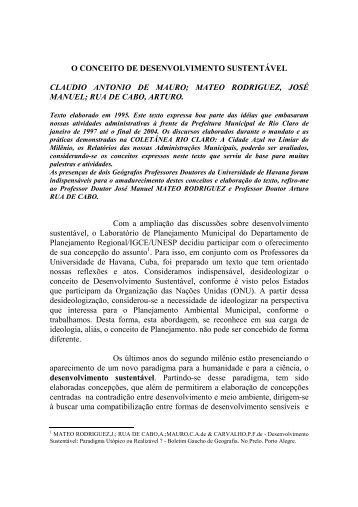 o conceito de desenvolvimento sustentável - Claudio Di Mauro