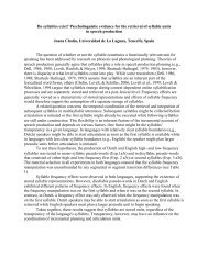 Do syllables exist? - CUNY Phonology Forum