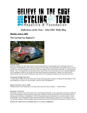 Reflections of the Tour – John Ellis' Daily Blog - Hepatitis B Foundation