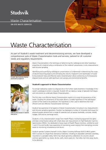 Waste Characterisation - Studsvik