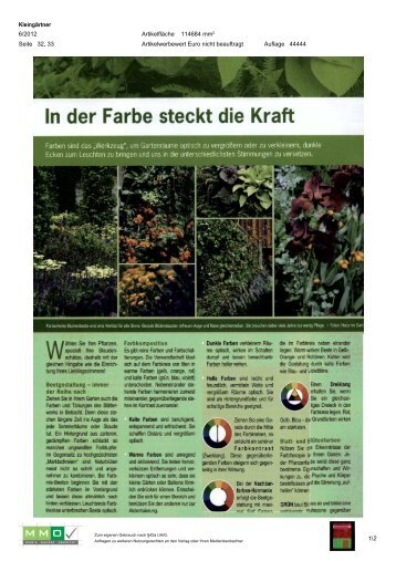 06. Juni; Kleingärtner 6/2012 [1 MB] - Natur im Garten