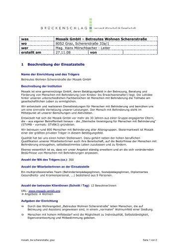 Mosaik GmbH - Betreutes Wohnen Schererstraße - Brueckenschlag ...