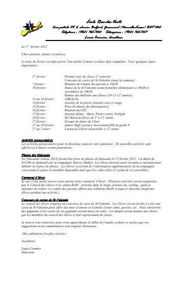 Bulletin info février 2 - École Rose-des-Vents