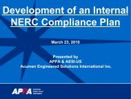 Development of an Internal NERC Compliance Plan