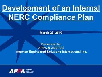 Development of an Internal NERC Compliance Plan