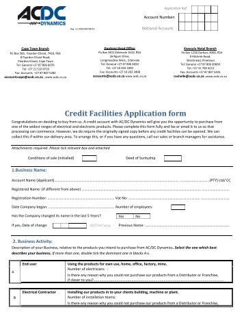 credit facilities application form acdc dynamics