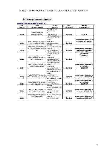 Liste des marchés publics en fournitures courantes et services