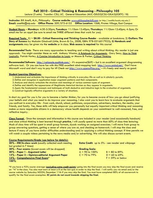 Syllabus Bill Anelli Mjc Courses Modesto Junior College