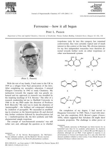 Ferrocene—how it all began