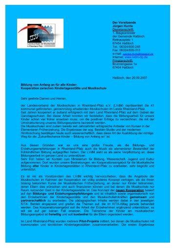 Anschreiben Kooperation KITA Musikschulen - LEA Rheinland-Pfalz