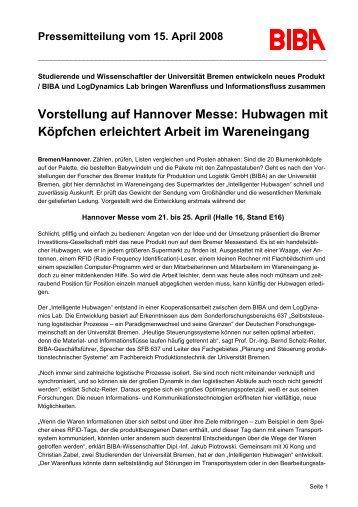 Vorstellung auf Hannover Messe: Hubwagen mit Köpfchen ...