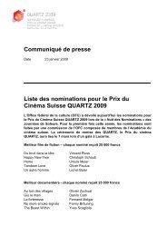 Liste des nominations pour le Prix du Cinéma Suisse QUARTZ 2009