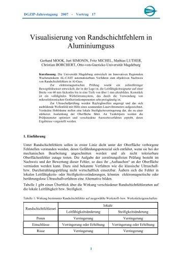 Visualisierung von Randschichtfehlern in Aluminiumguss - NDT.net