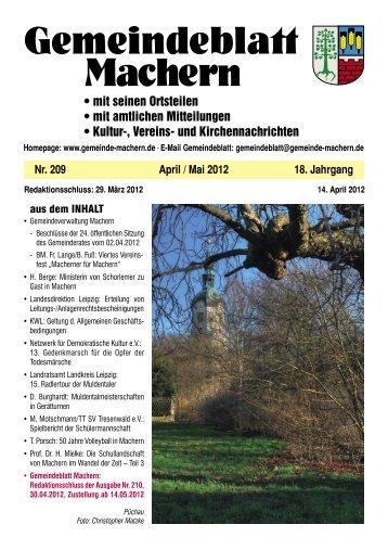Amtsblatt Nr. 209 April 2012 - Machern