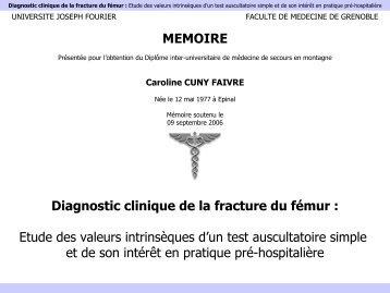 Diagnostic clinique de la fracture du fémur - Secours-montagne.fr