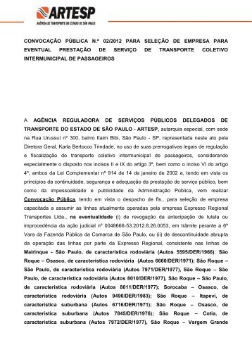 convocação pública n.º 02/2012 para seleção de empresa ... - Artesp